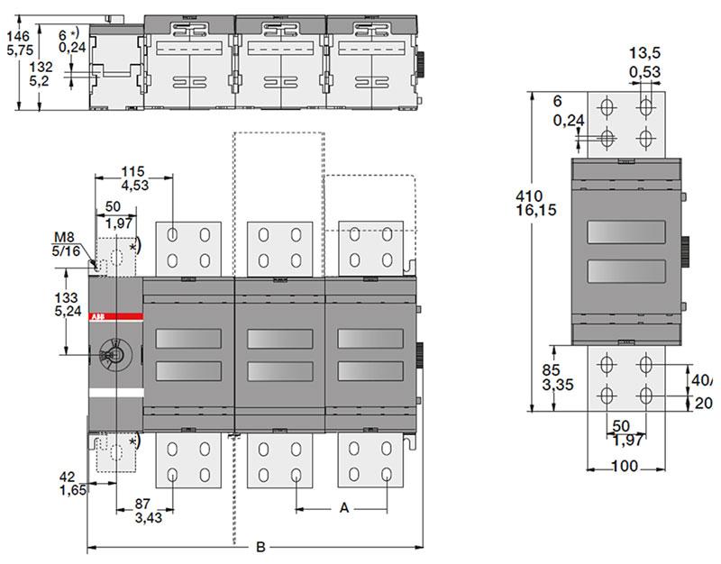 Габаритные размеры выключателей разъединителей нагрузки, производства АББ