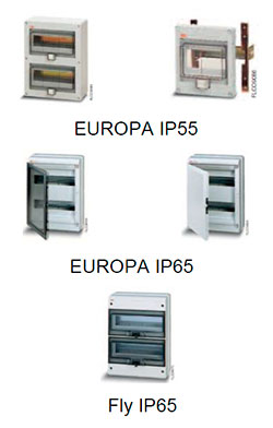 Шкафы серий EUROPA IP55, EUROPA IP65 и Fly IP65 производства ABB (АББ)
